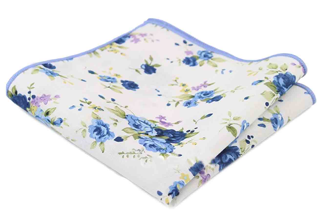 Gascoigne Floral Pocket Square Cotton White Green Purple Yellow Men's