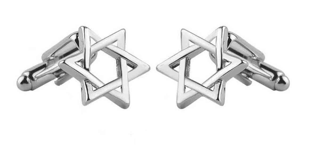 Gascoigne Jewish Star of David Cufflinks Silver Metal Alloy Men's