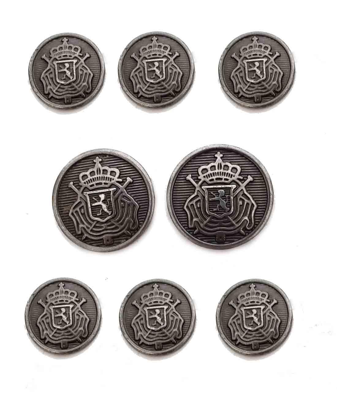 Waterbury Blazer Buttons Gray Silver Belgian Crest Shank Men's