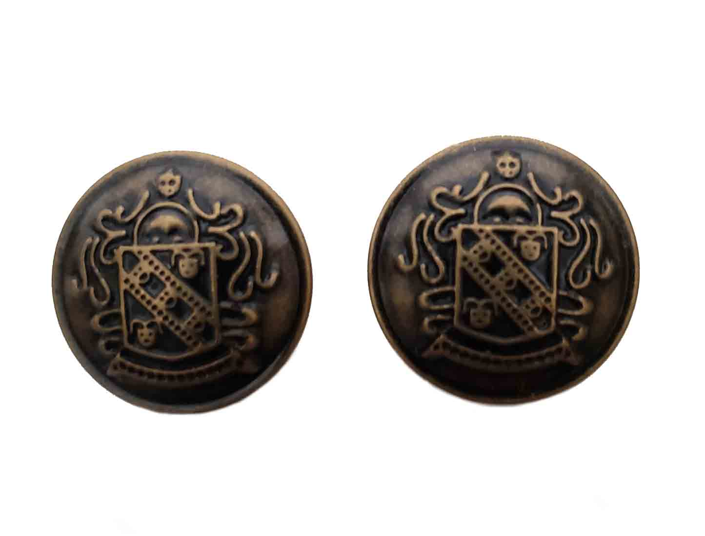 Two Gascoigne Blazer Buttons Brown Gold Brass Crest Shank Men's