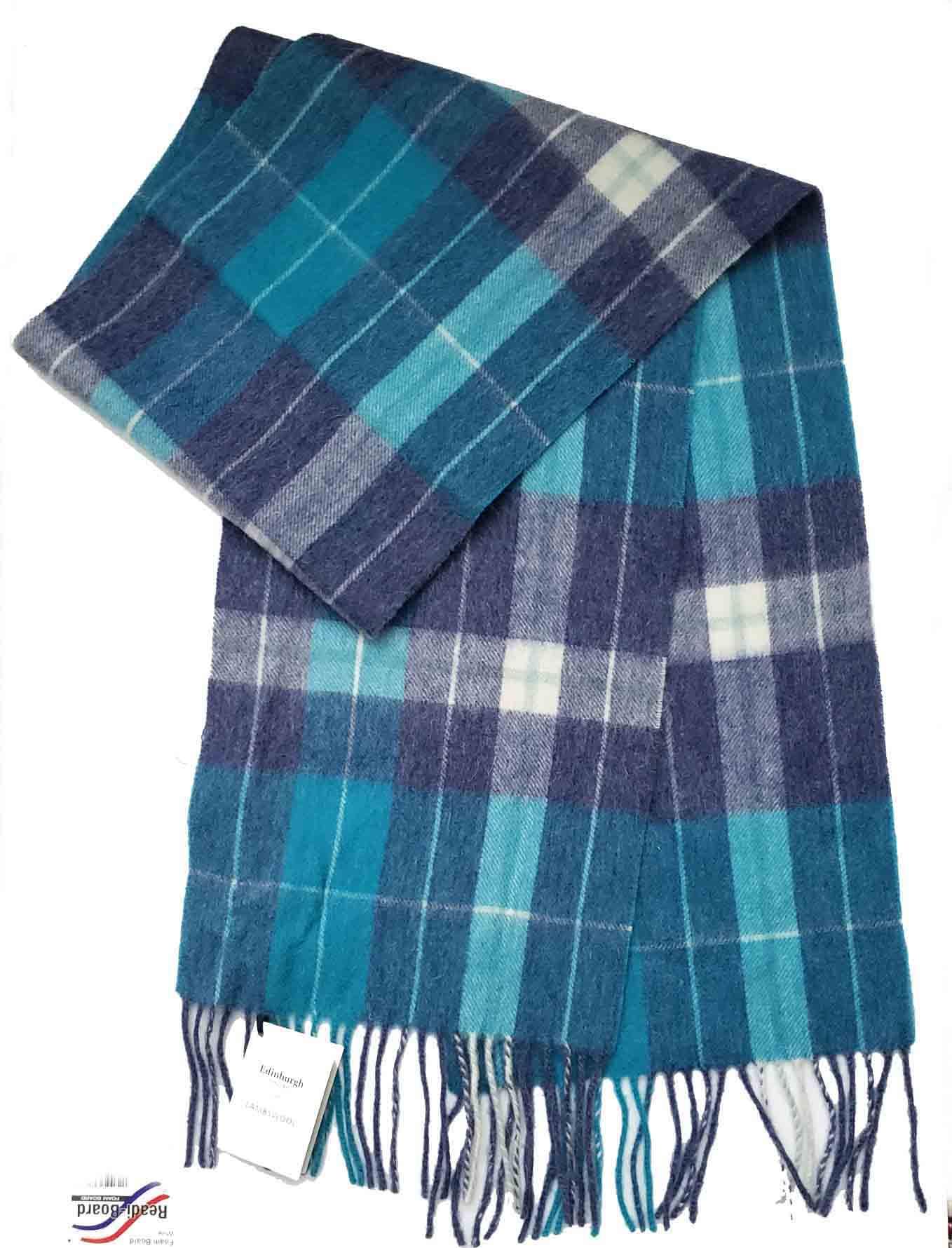 Edinburgh Scotland Lambswool Tartan Plaid Blue White Green Gray Men's
