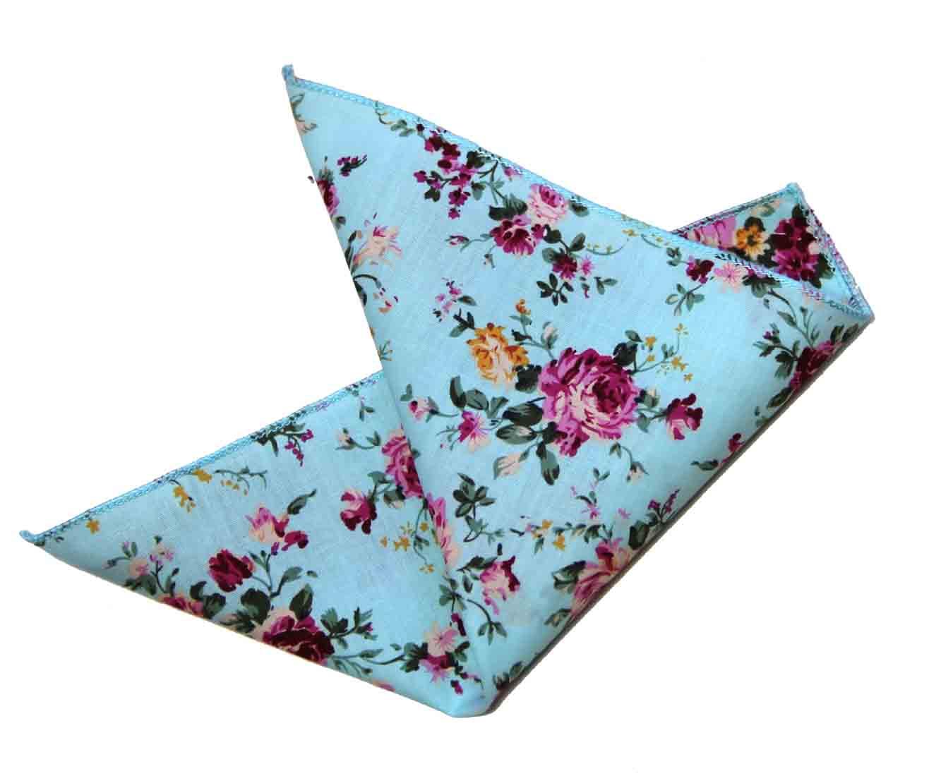 Gascoigne Pocket Square Floral Blue Pink White Yellow Cotton Men's
