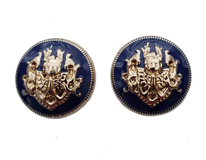 Two Gascoigne Domed Blazer Buttons Navy Blue Gold Crest Shank Men's