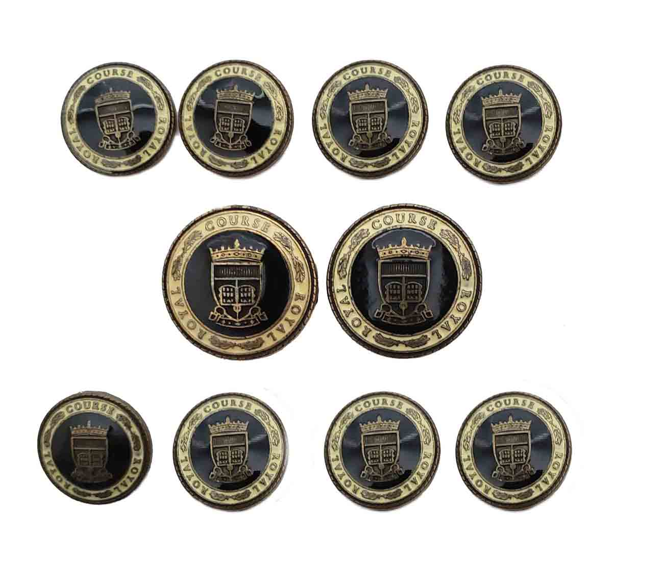 Vintage Austin Reed Blazer Buttons Set Royal Course Gold Black Cream Shank Men S