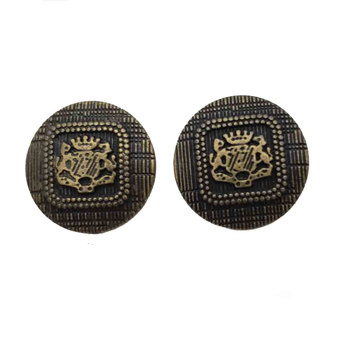Two Vintage Robert Hall Semi-Dome Blazer Buttons Antique Gold Brown Metal Lions Shield Men's