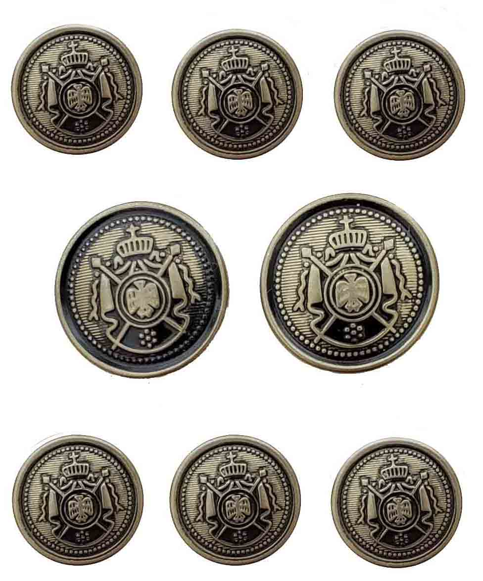 Vintage Reed St James Blazer Buttons Set Brass Antique Gold Gray Crown Shield Men's