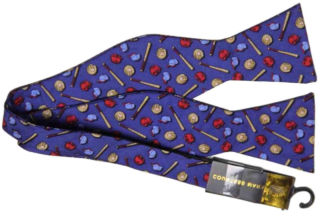 Countess Mara Silk Bow Tie Baseball Pattern Blue Men's