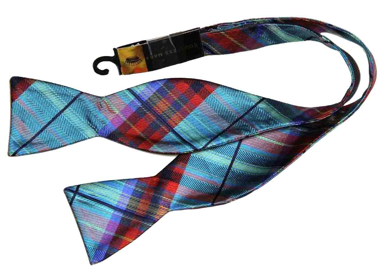 Countess Mara Bow Tie Plaid Red Teal Blue Black Men's