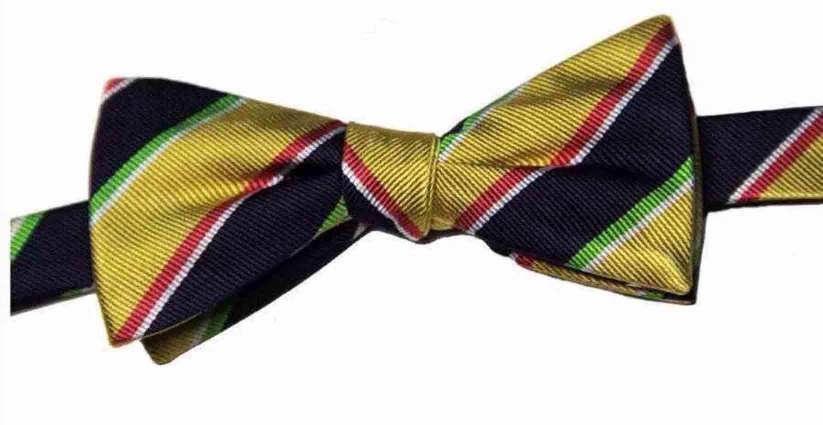 Countess Mara Regimental Stripe Bow Tie Gold Blue Red White Men's