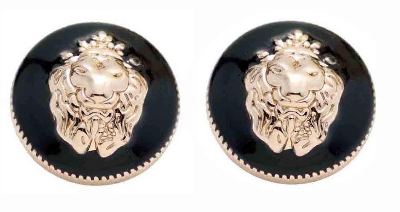 Two Gascoigne Lion Head Blazer Buttons Gold Black Shank Men's