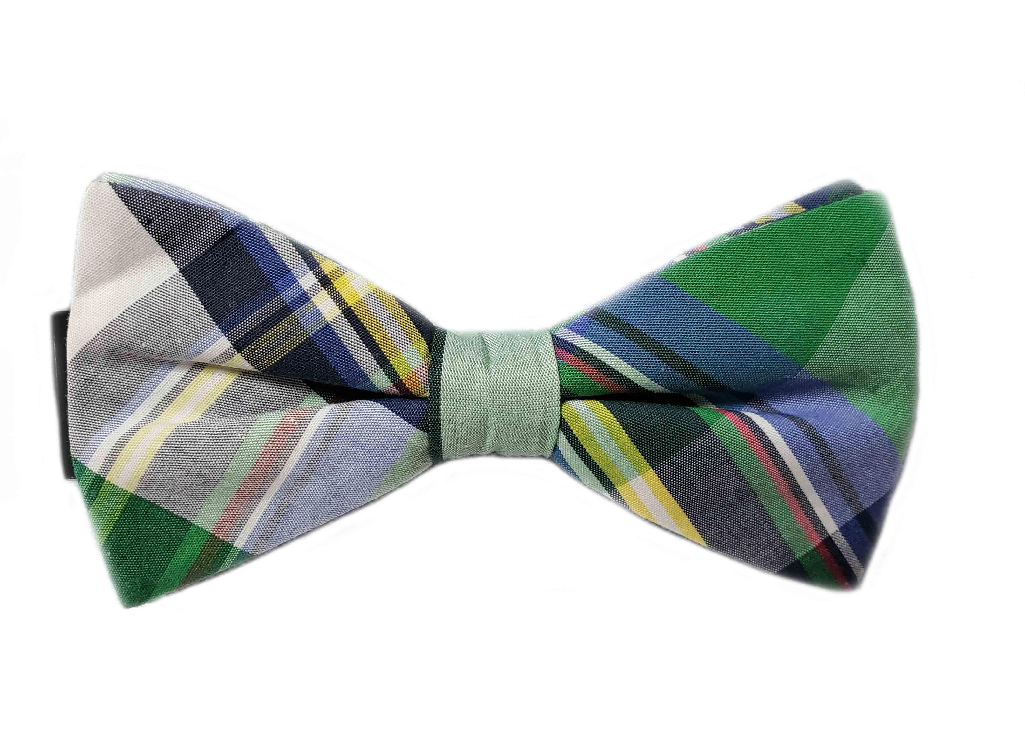Gascoigne Plaid Cotton Bow Tie Green Blue Yellow Gray White Men's OS