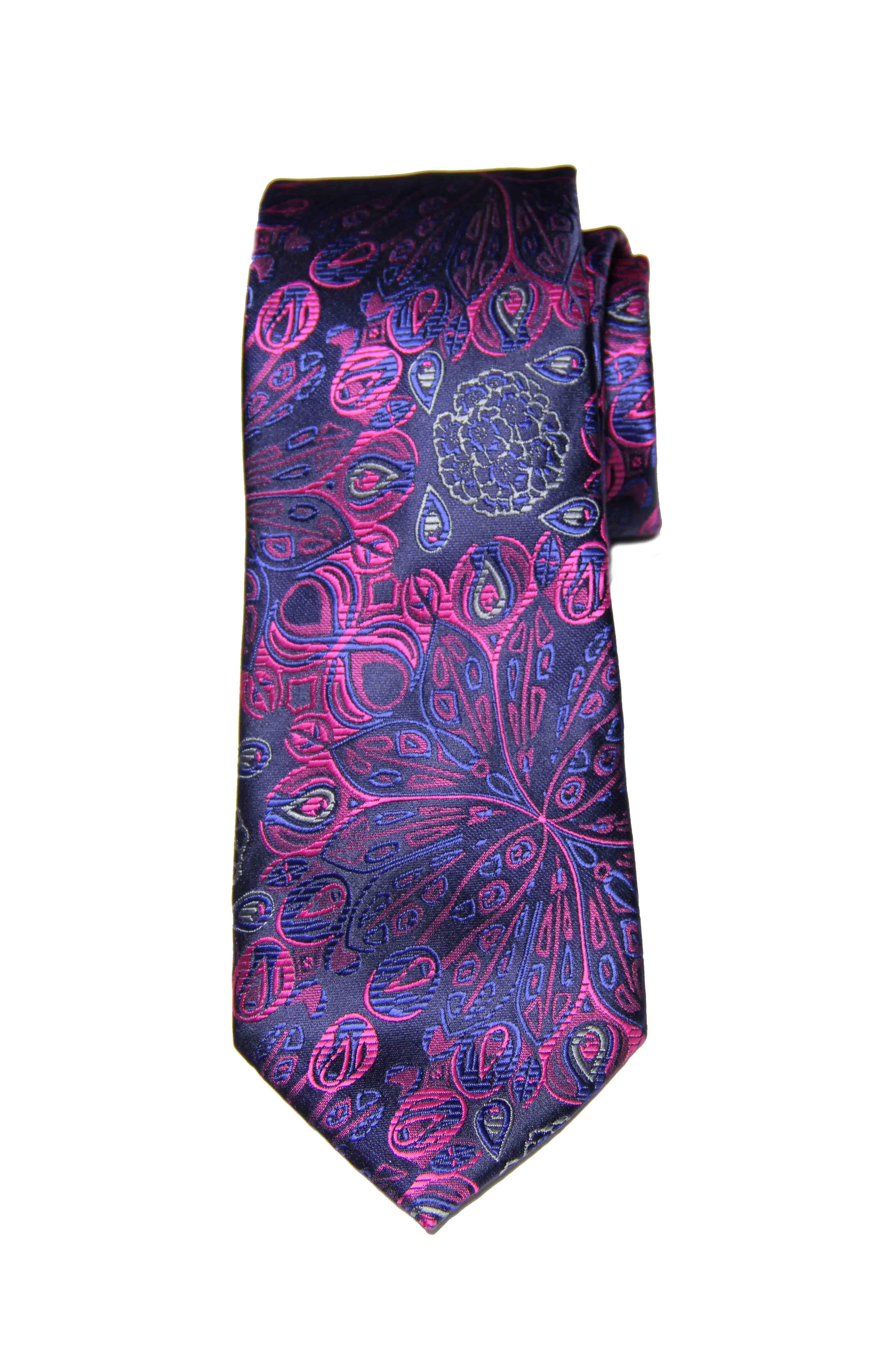 Gascoigne Silk Jacquard Tie Floral Purple Blue Black Men's