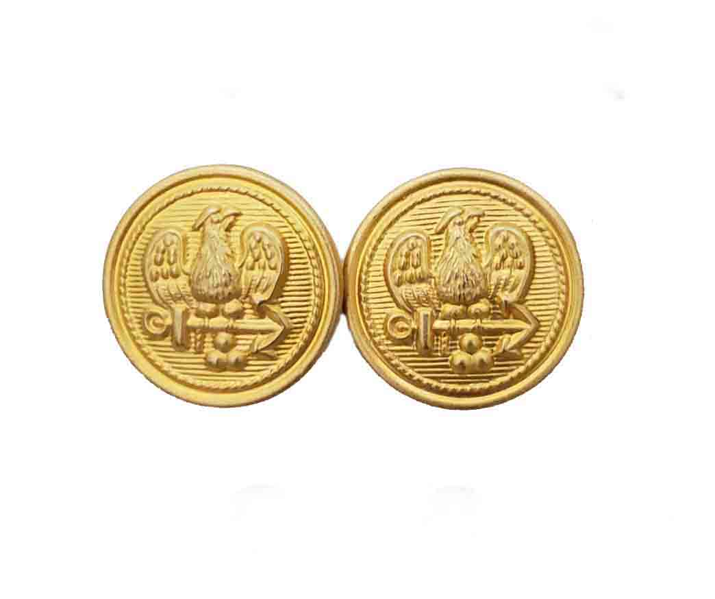 Two Vintage Stanley Blacker Blazer Buttons Gold Brass Eagle Anchor Men's