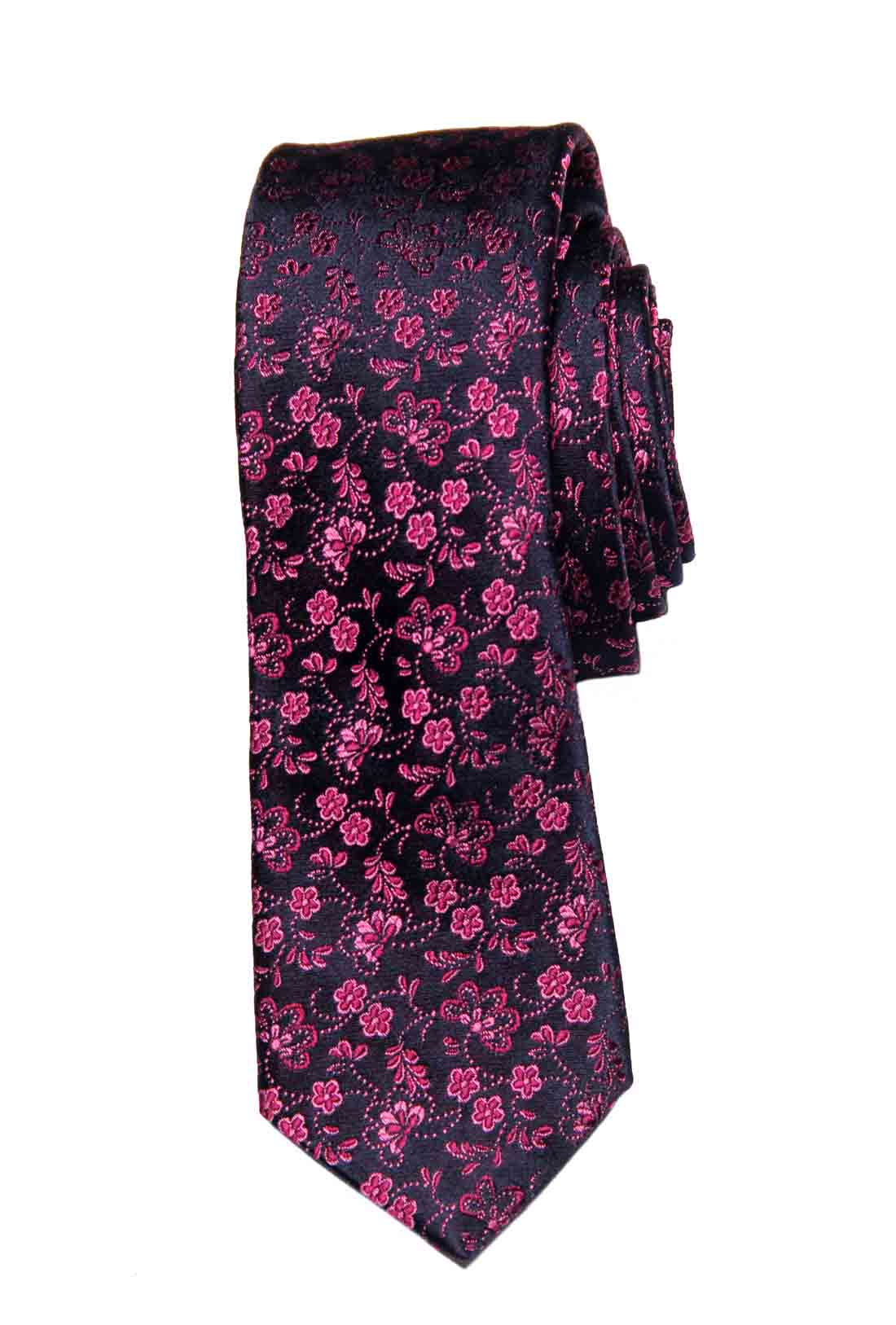Ted Baker Italian Silk Tie Red Pink Black Floral Narrow Men's