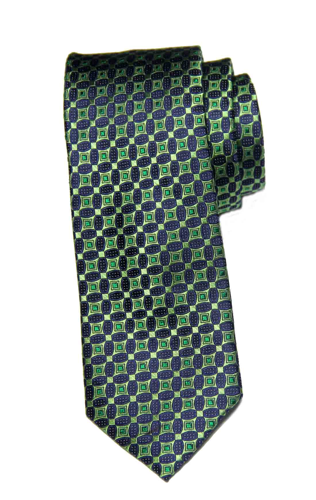 Ted Baker London Silk Tie Green Navy Blue Geometric Pattern Narrow Men's