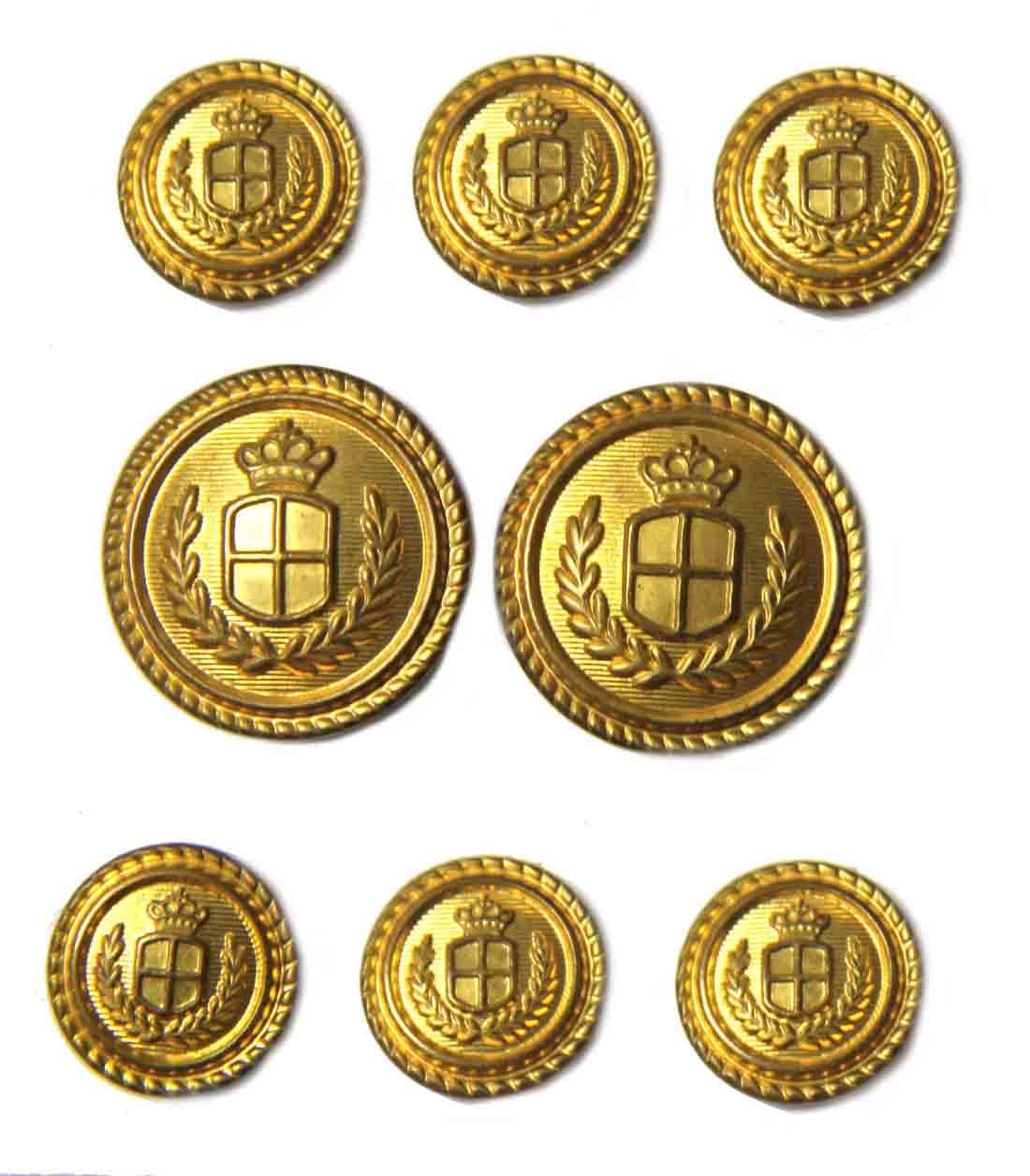 Vintage Waterbury Blazer Buttons Set Gold Brass Shank Crown Shield Laurel Men's