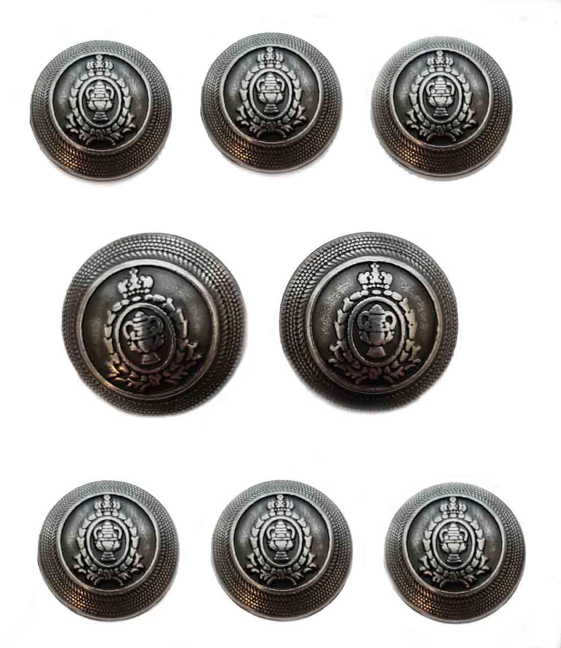 Aquascutum Dome Blazer Buttons Set Gray Silver Shank Metal Men's