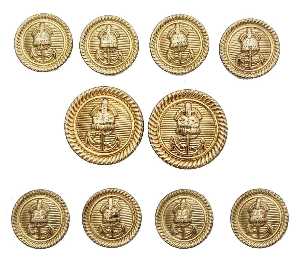 Vintage Alan Flusser Blazer Buttons Set Gold Nautical Anchor Shank Men's