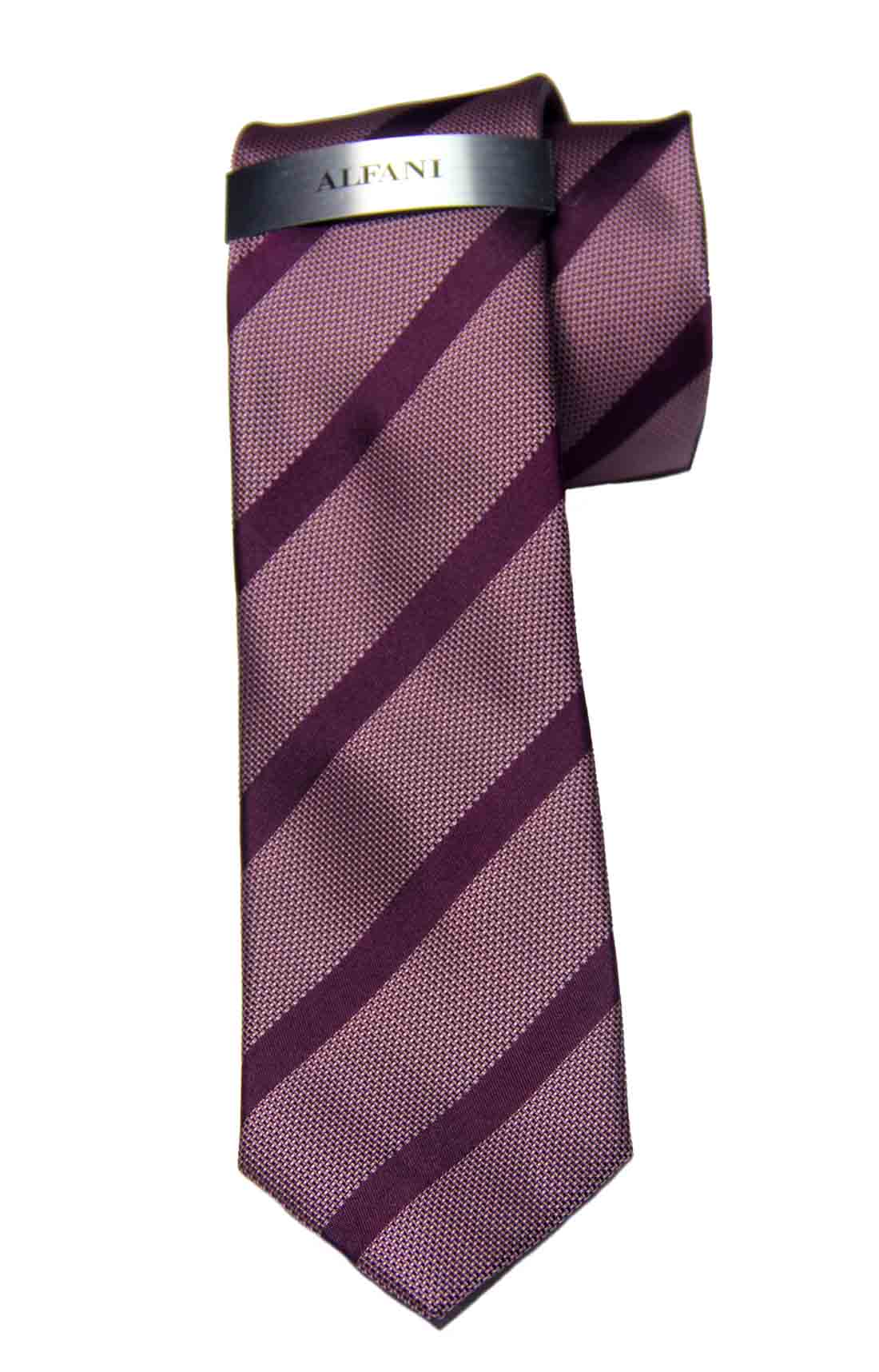 Alfani Hawks Stripe Tie Purple Silk Blend Narrow Men's