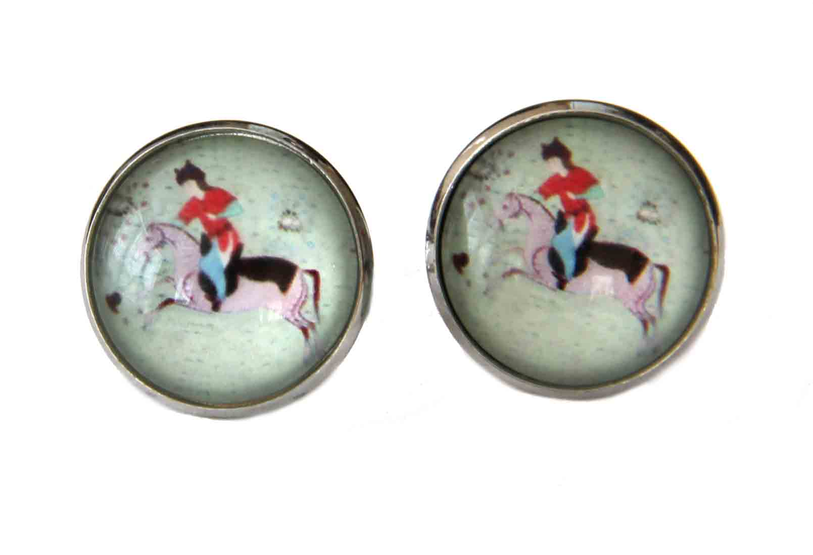 Gascoigne Cufflinks Ancient Polo Player Handmade Silver Metal Alloy Men's