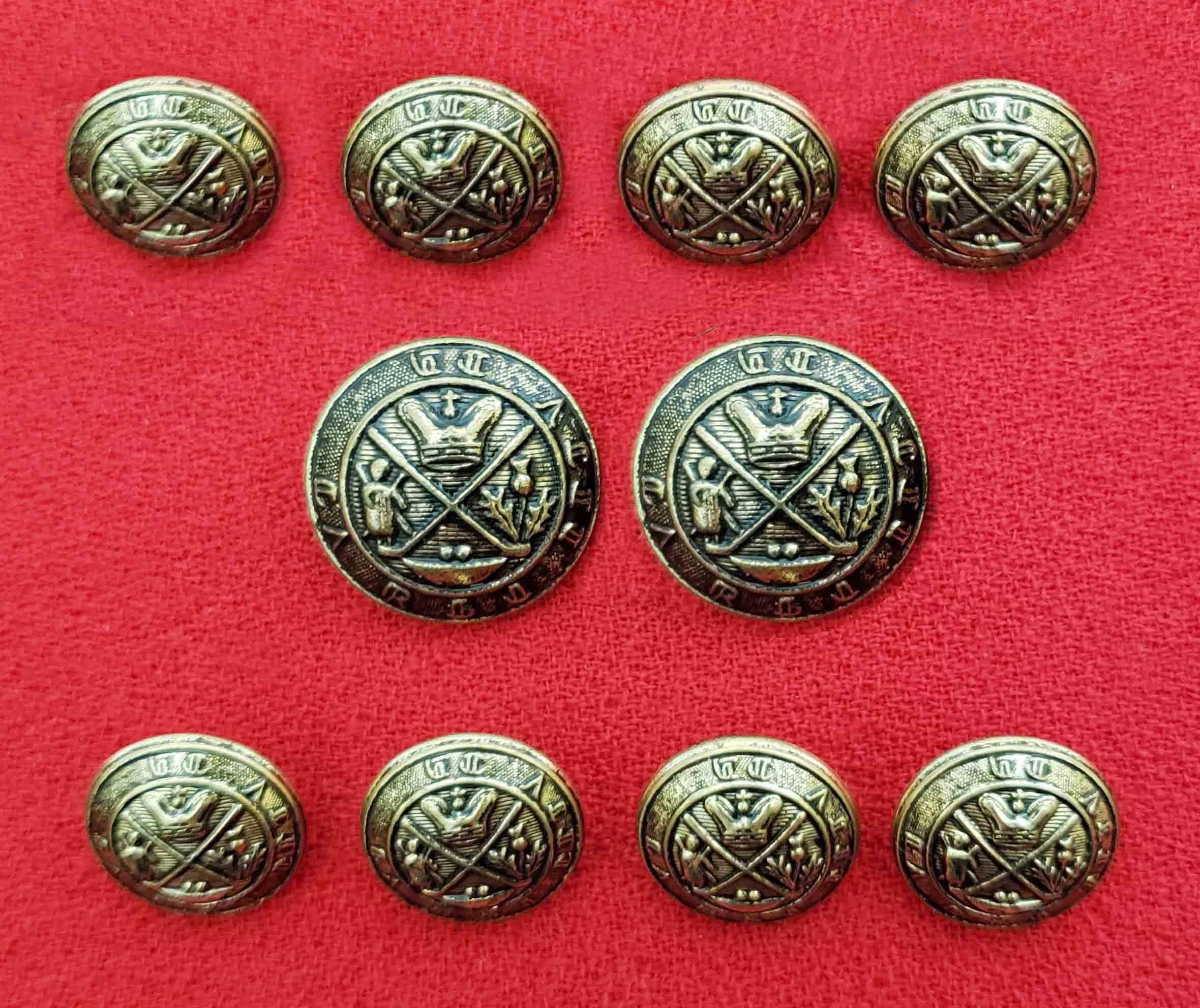 Club Room Blazer Buttons Set Antique Gold Royal Blackheath Golf Club Crest Pattern Men's