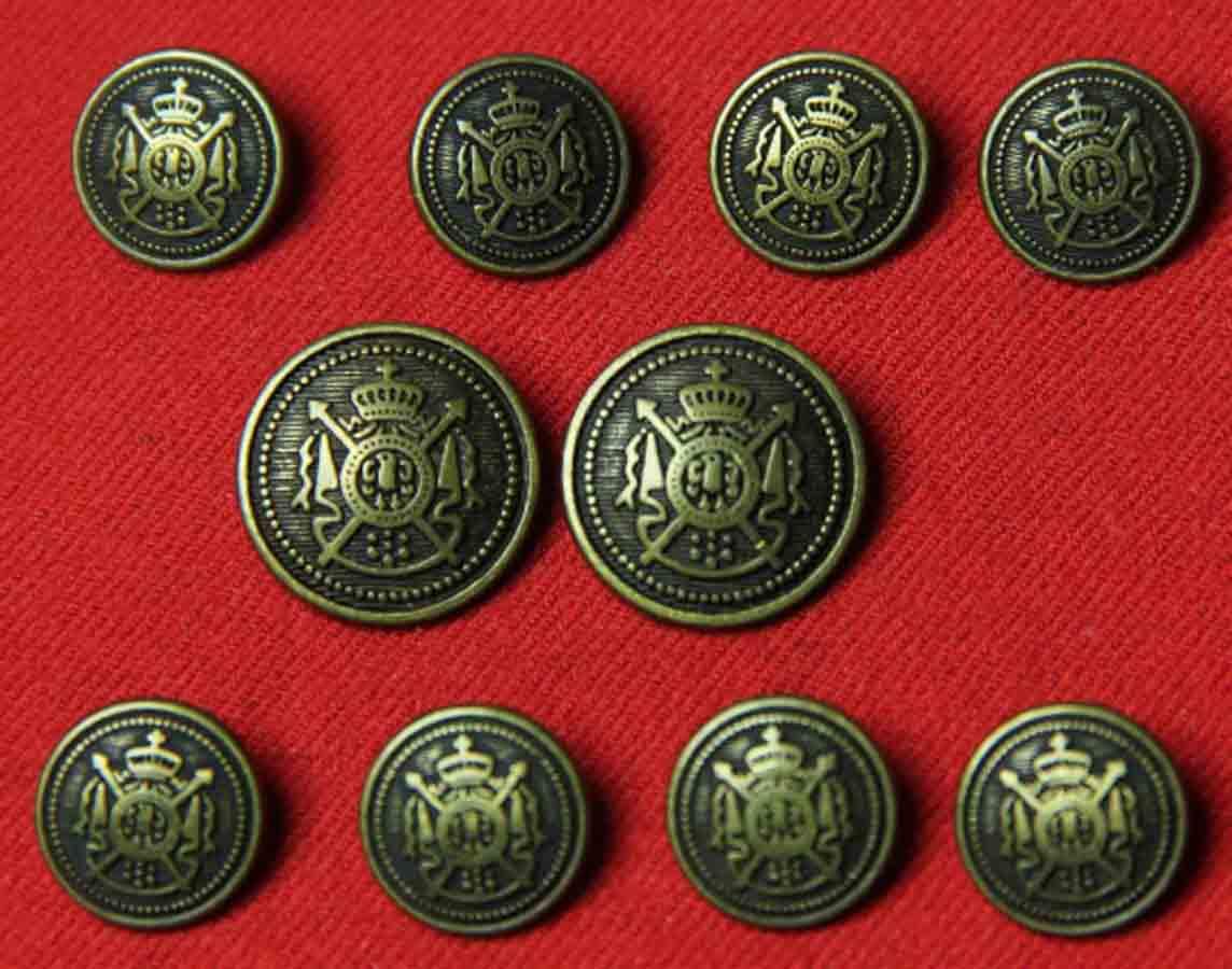 Vintage Aquascutum Blazer Buttons Set Brass Metal Alloy Antique Gold and Brown Shank Men's