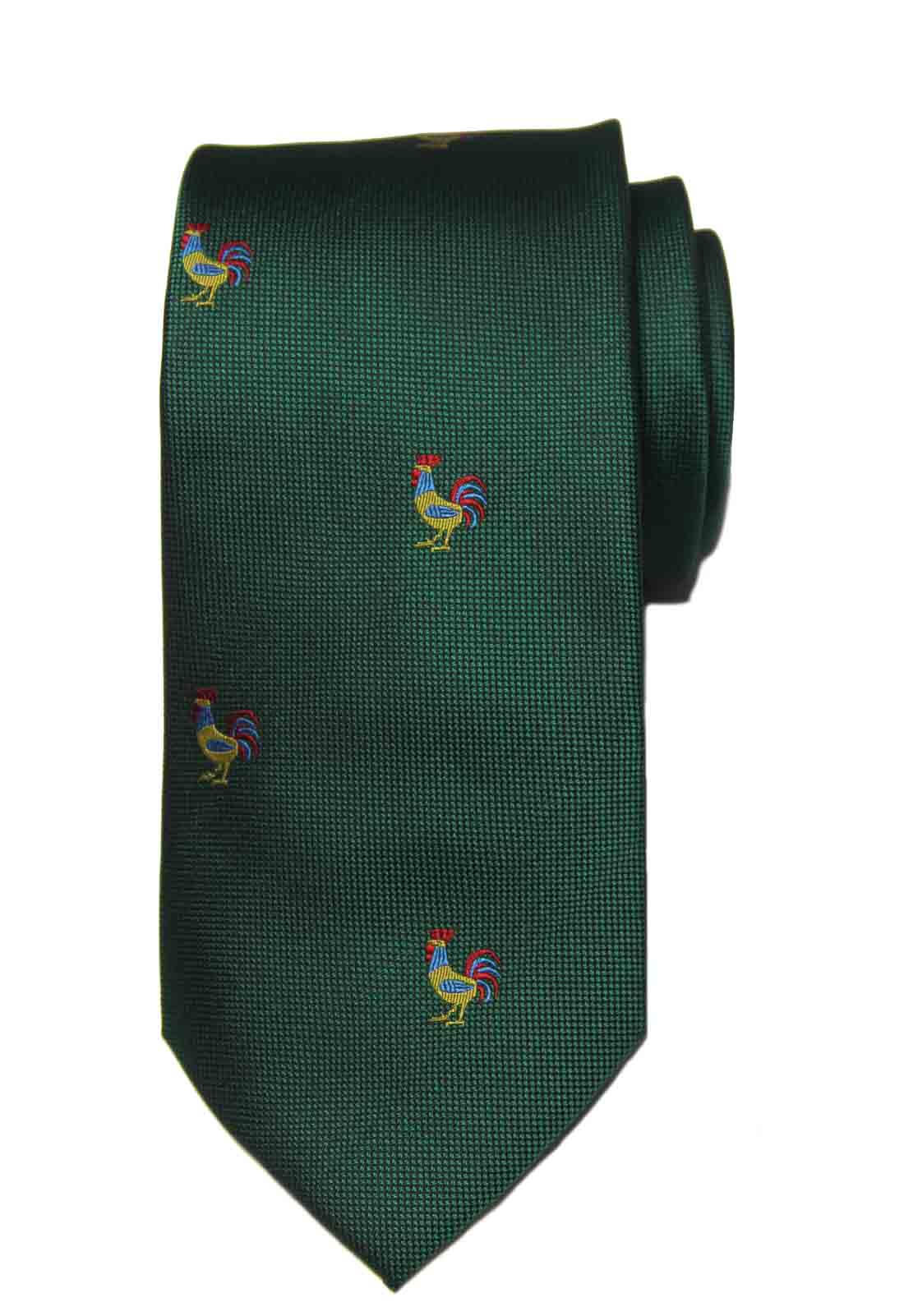Barry Wang Silk Tie Green Rooster Pattern Green Men's