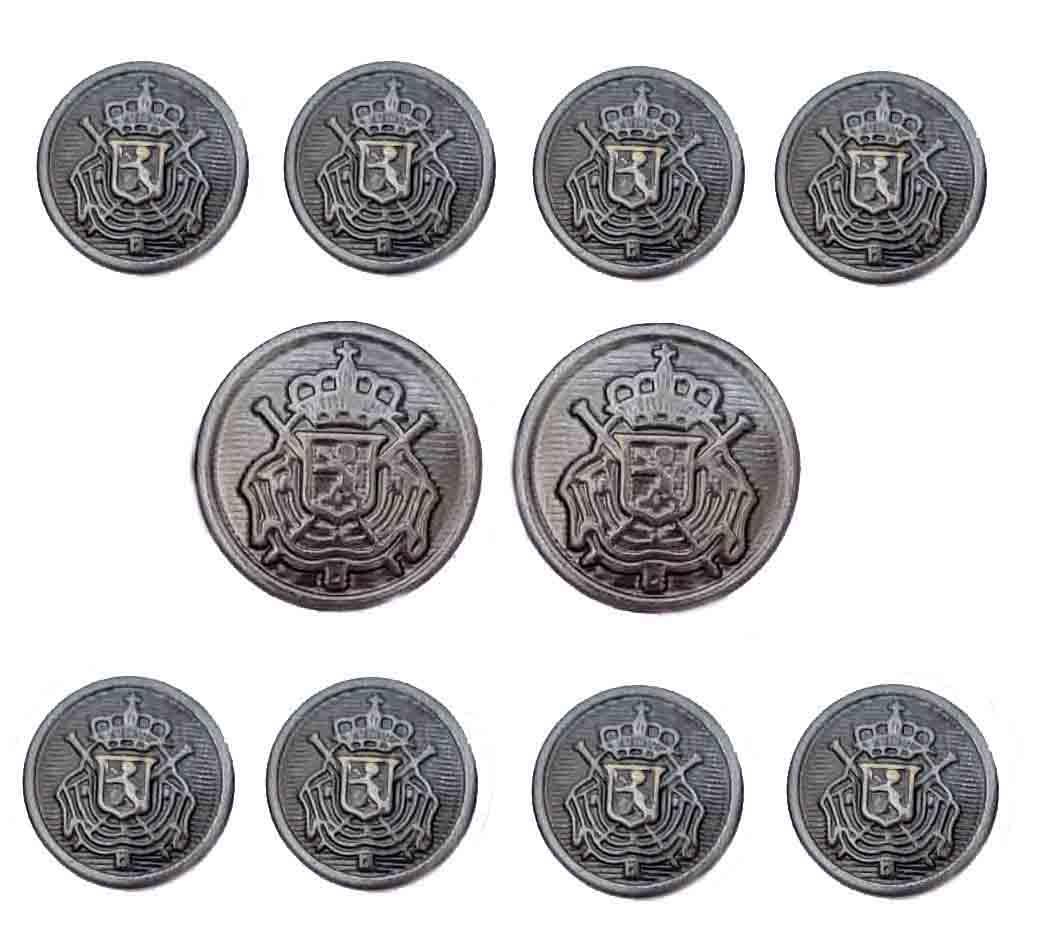 Vintage Botany 500 Blazer Buttons Set Gray Metal Crown Shield Men's