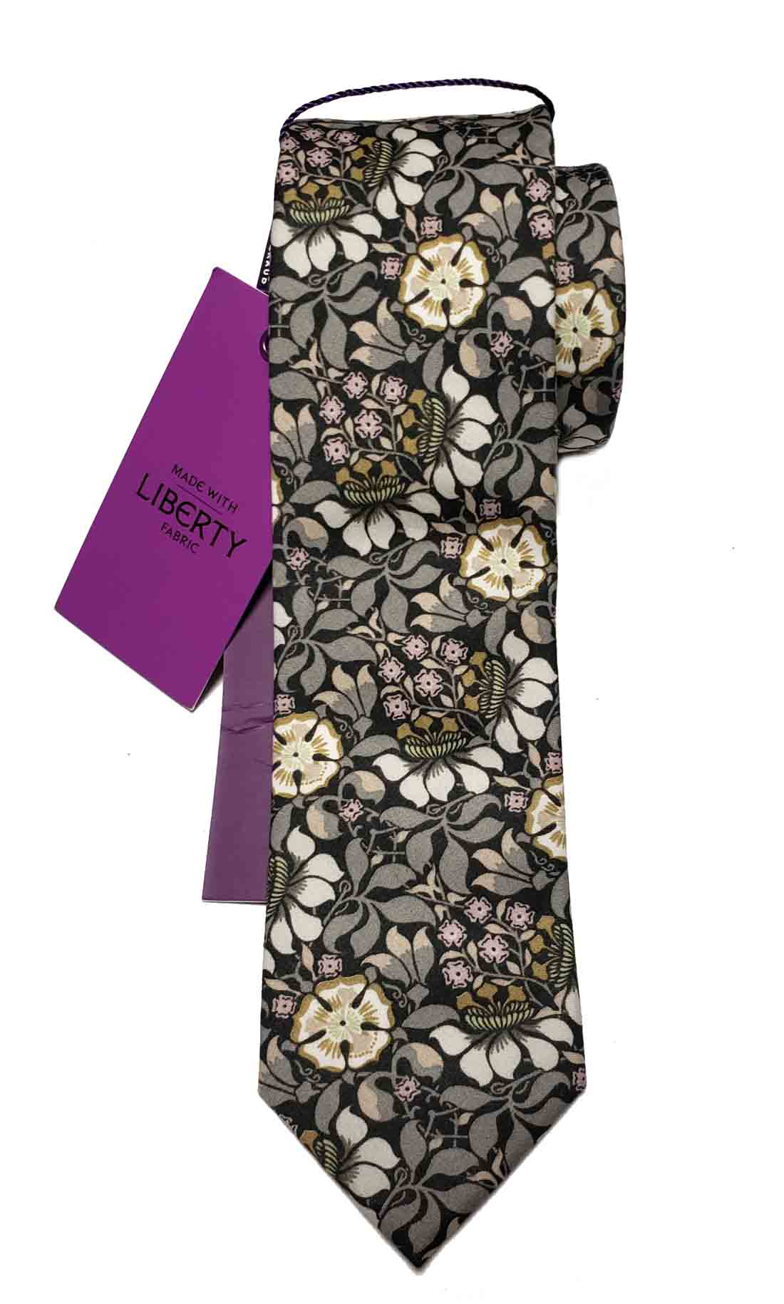 Gianni Feraud Liberty of London Fabric Tie Floral Gray Black Pink Cotton Men's Long Slim Tie