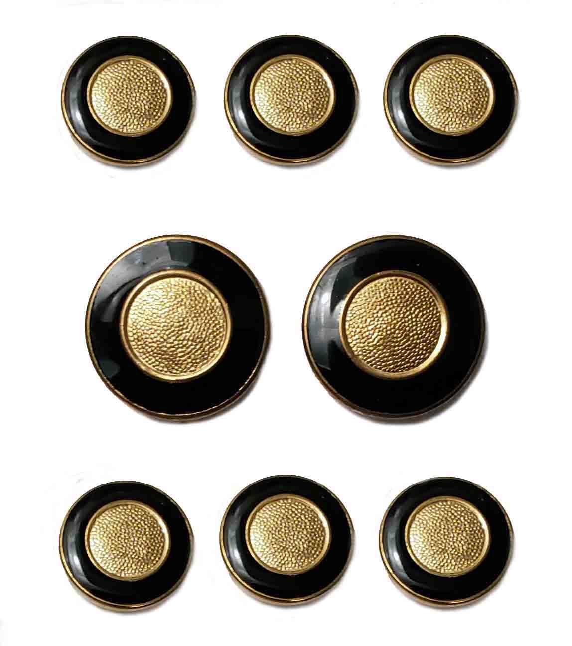 Vintage Stanley Blacker Blazer Buttons Set Gold Black Brass Enamel Shank Men's