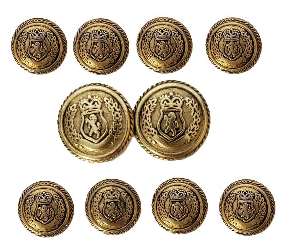 Vintage Haggar Blazer Buttons Set Gold Brass Shank Lion Shield Men's