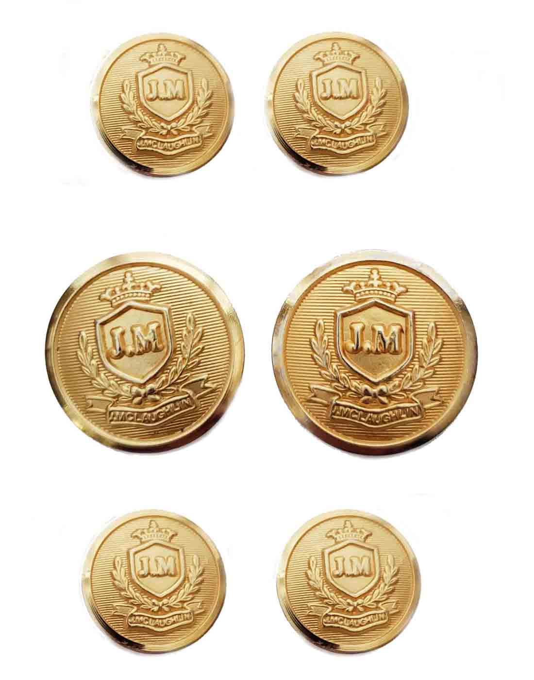 J McLaughlin JM Monogram Blazer Buttons Set Gold Brass Men's