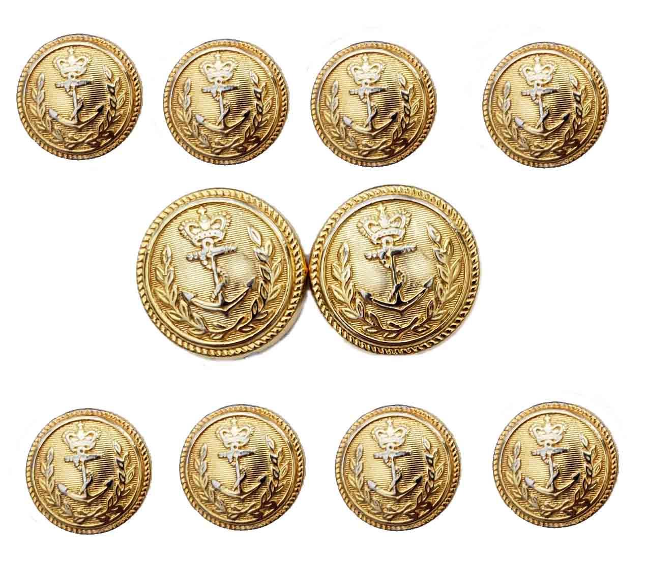 Vintage Lands' End Semi-Dome Blazer Buttons Set Gold Brass Crown Anchor Nautical Men's