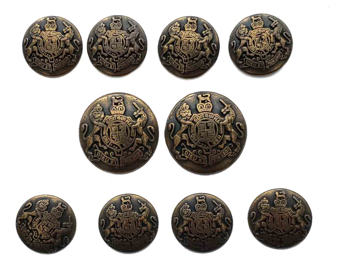 Vintage Mark Alexander Blazer Buttons Set Antique Gold Brown Metal Alloy Lion Unicorn Men's