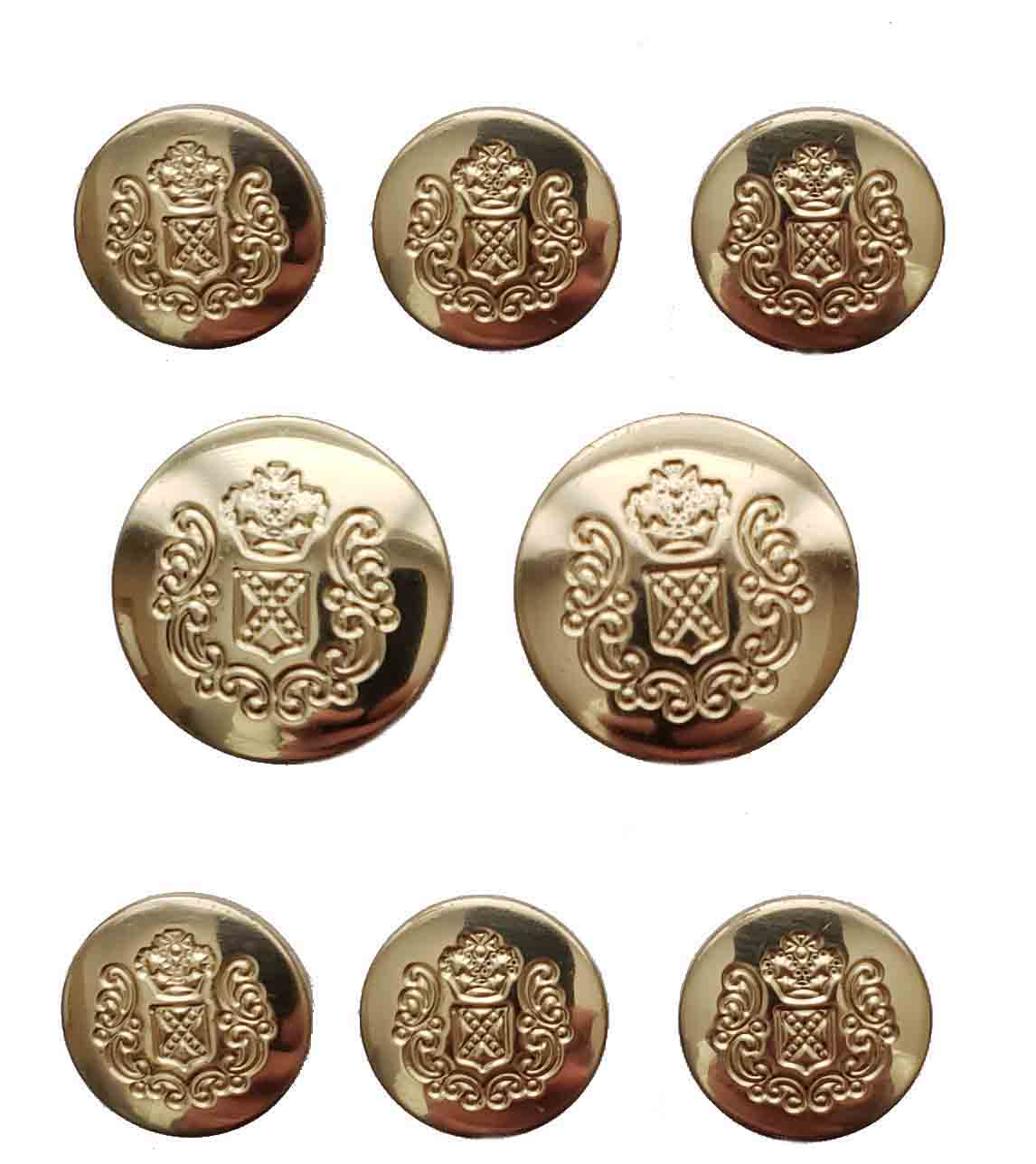 Vintage Mark Alexander Blazer Buttons Set Gold Brass Crown Shield Shank Men's
