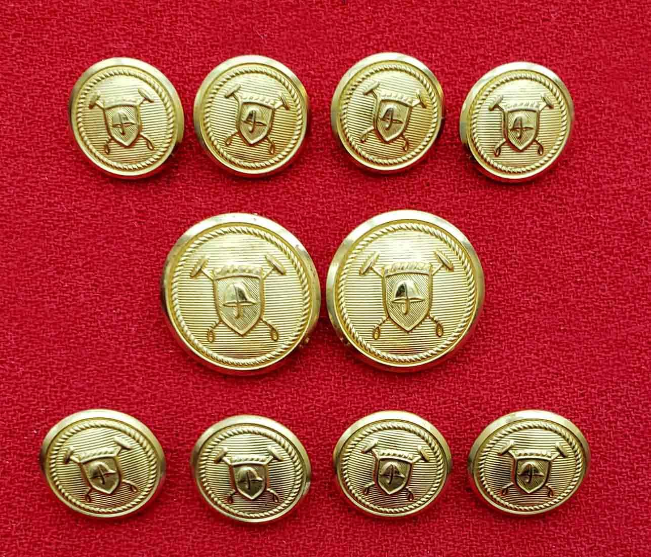 Polo Ralph Lauren by Waterbury Blazer Buttons Set Gold Brass Shank Men's