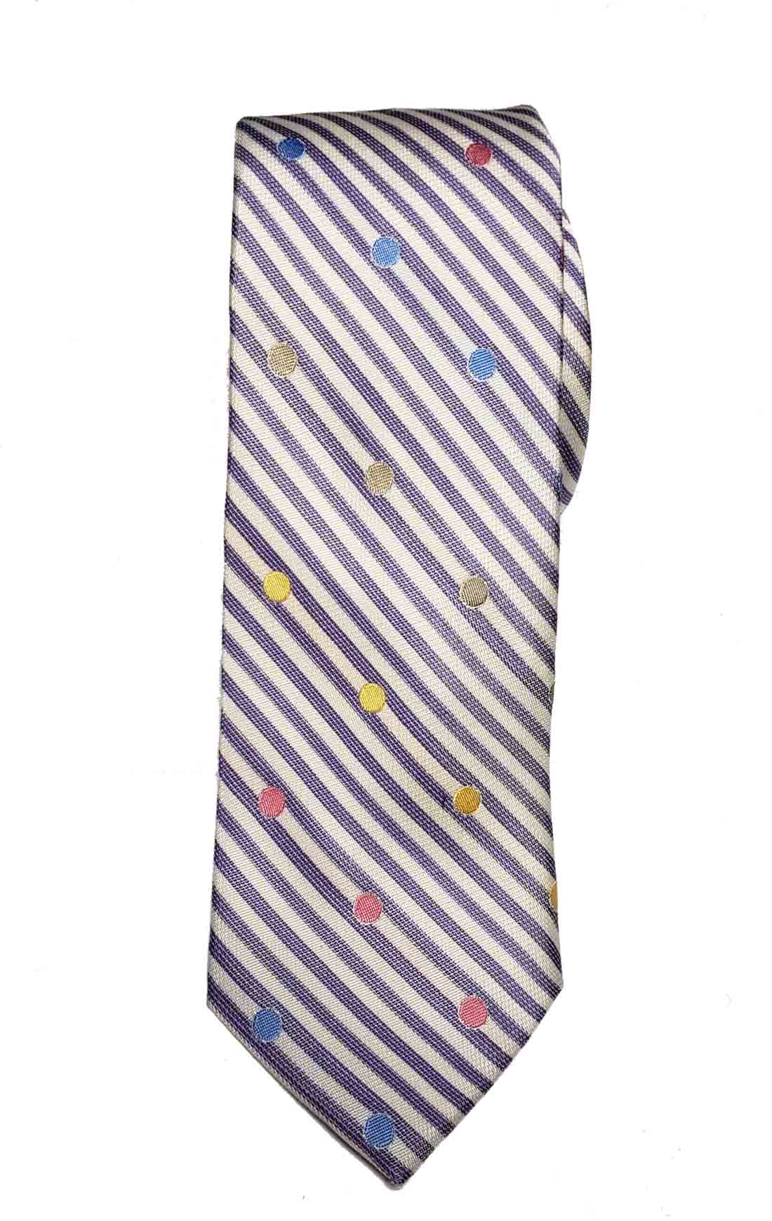 Nick Graham Silk & Cotton Tie Striped Polka Dots Men's Narrow