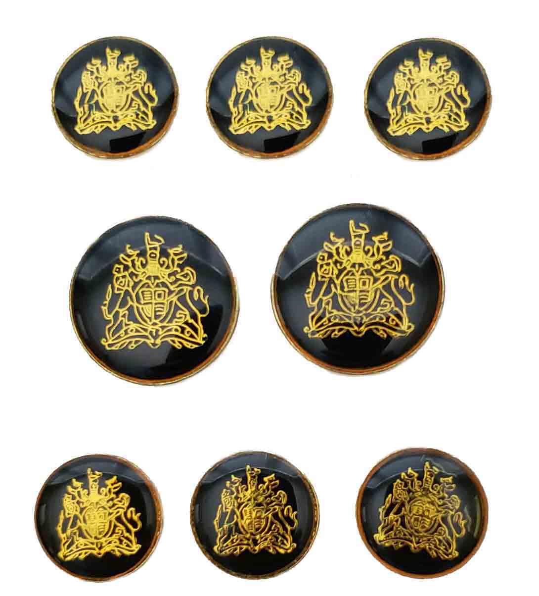 Vintage Oleg Cassini Blazer Buttons Set Gold Black Enamel and Brass Lions Shield Men's