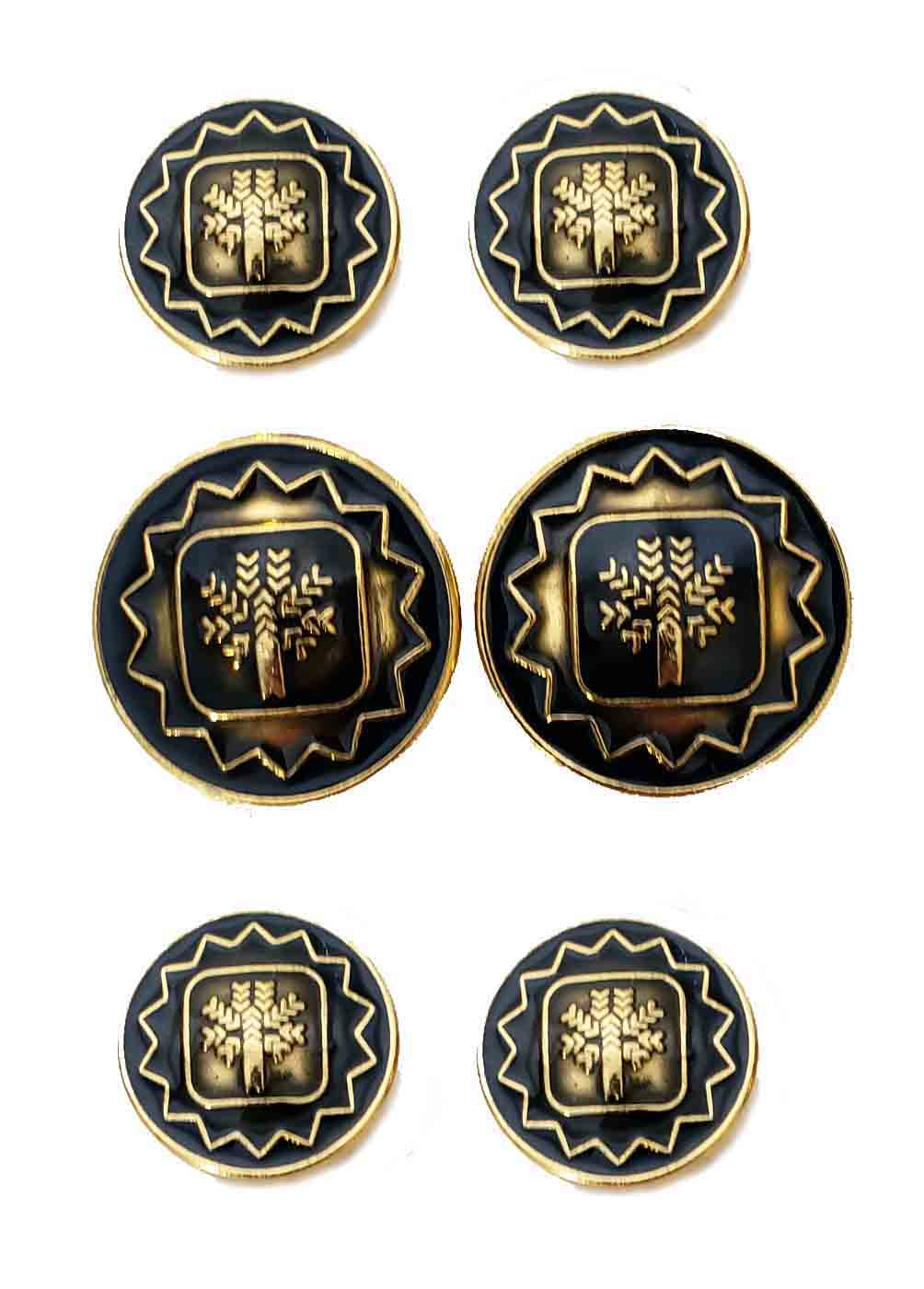 Pal Zileri Semi Dome Blazer Buttons Set Gold Brass Black Enamel Tree Pattern Men's