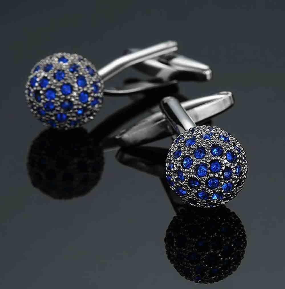 Gascoigne Formal Cufflinks Silver Blue Metal Crystals Men's