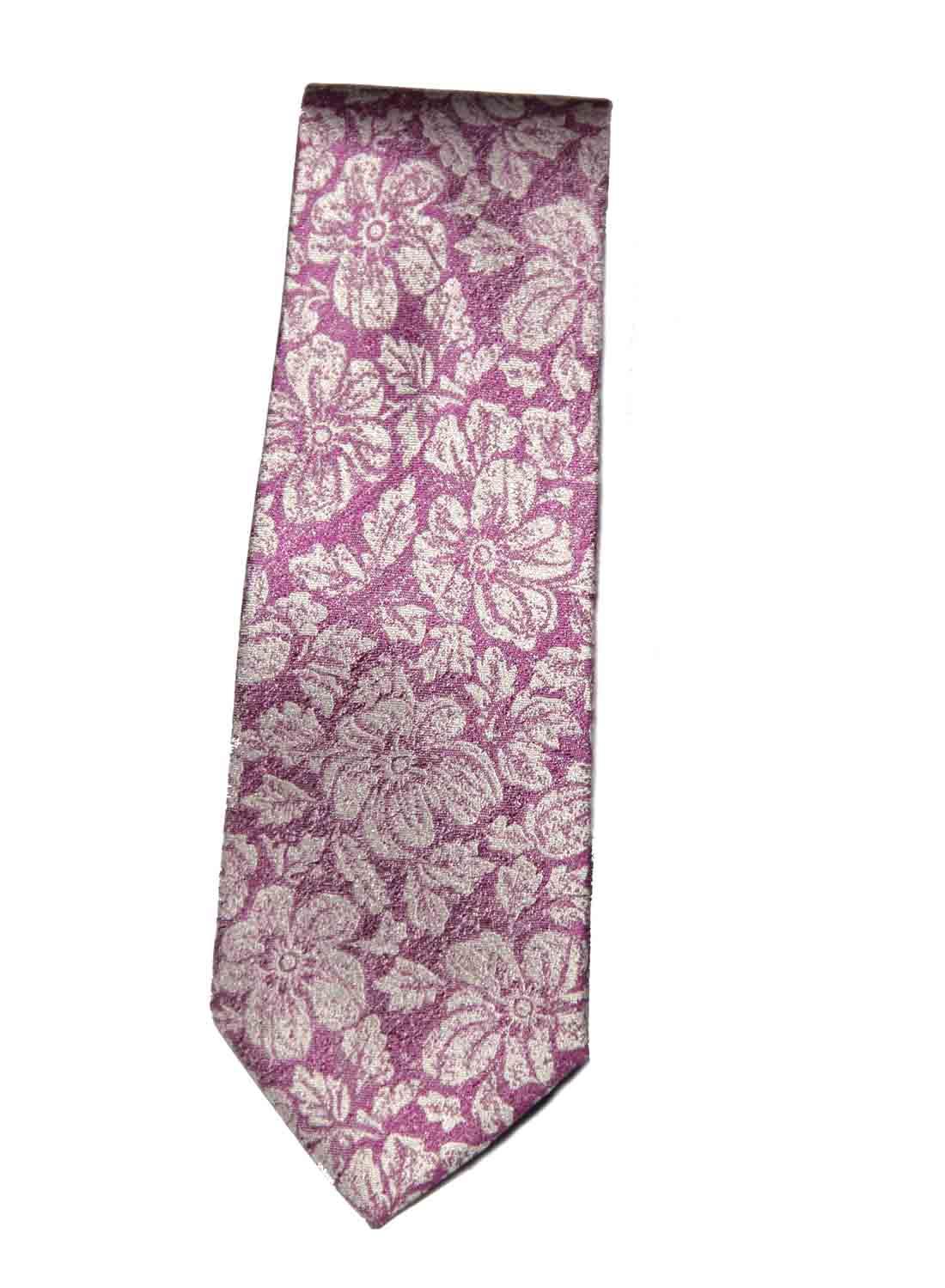 Ted Baker Silk Tie Pink White Floral Men's