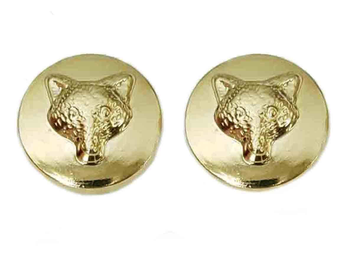 Two Gascoigne Fox Pattern Blazer Buttons Gold Metal Shank Men's 7/8 Inch