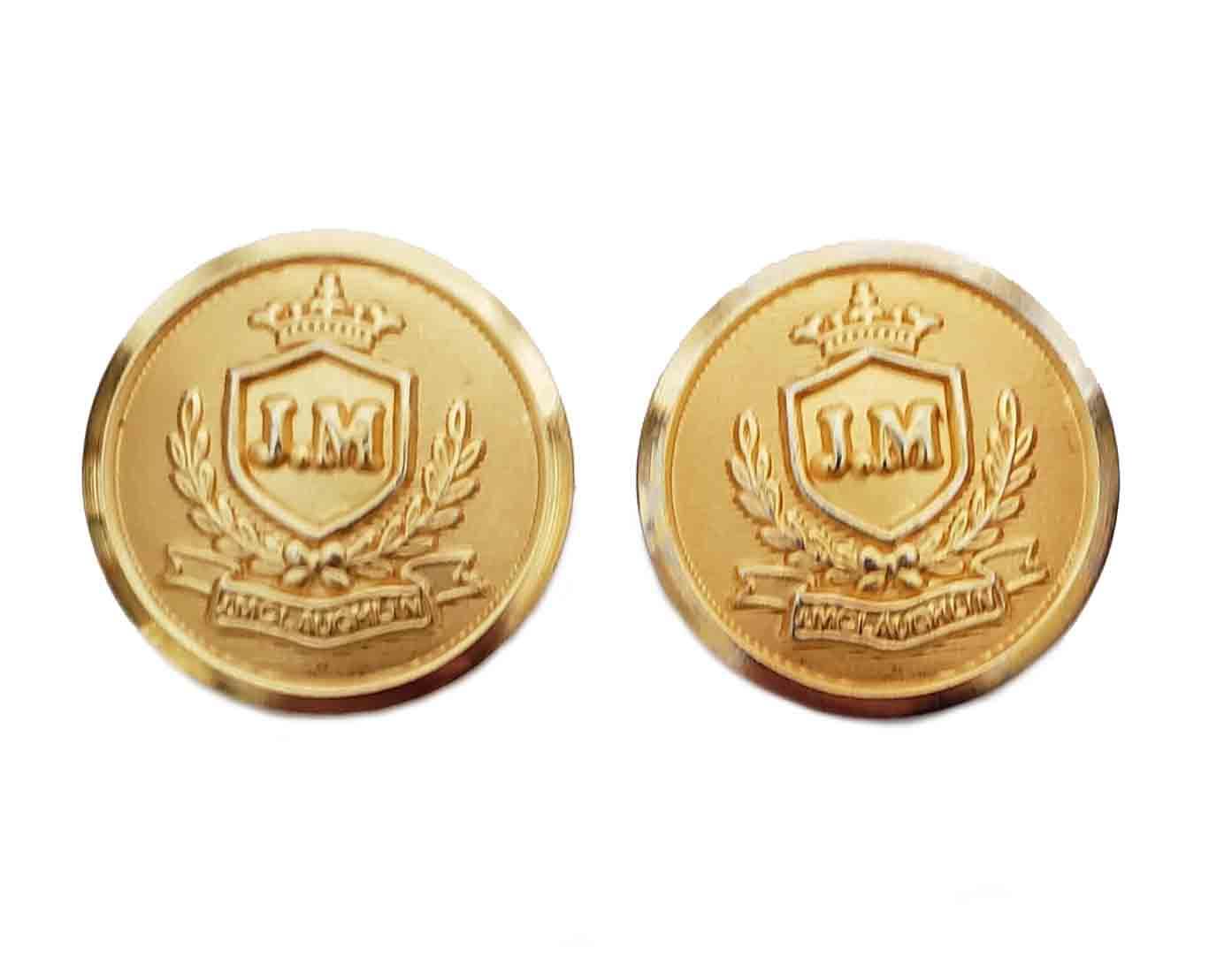 Two J McLaughlin JM Monogram Blazer Buttons Gold Brass Men's