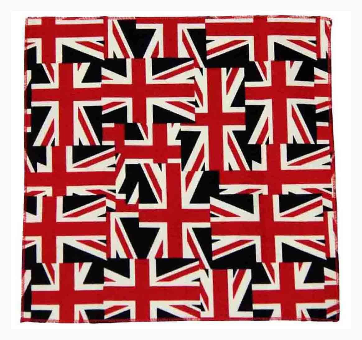 Gascoigne Pocket Square British Union Jack Flag Pattern Cotton Red White Blue Men's