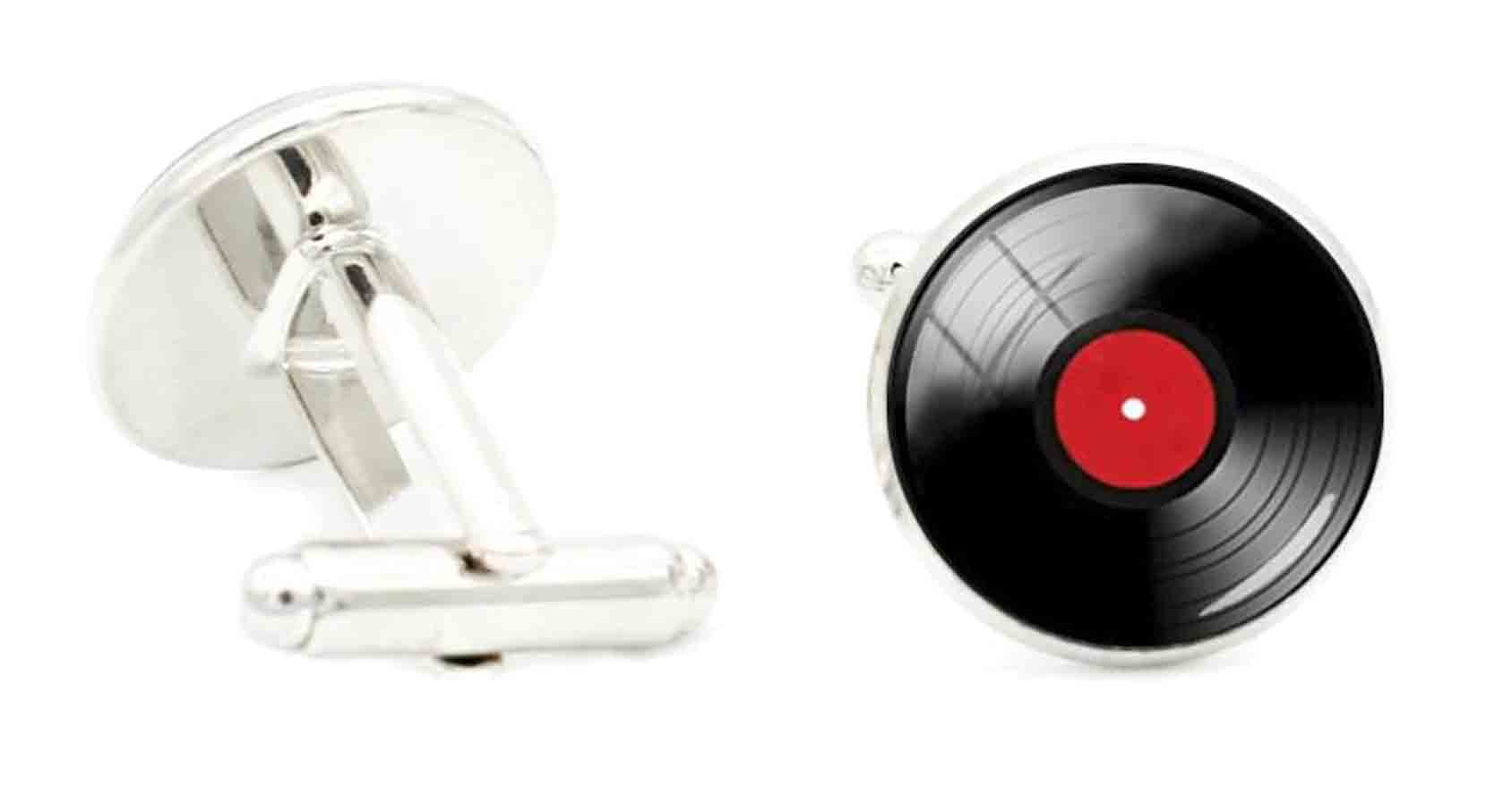 Gascoigne Repro Retro Vinyl Disc Cufflinks Silver Black Red Men's