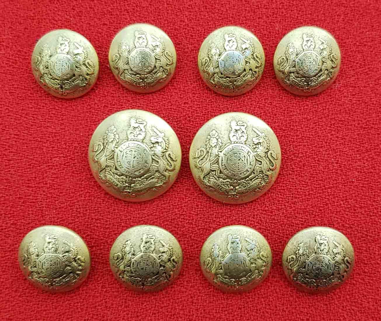 Waterbury Dome Blazer Buttons Set Gold Brass Lion Unicorn Shank Men's