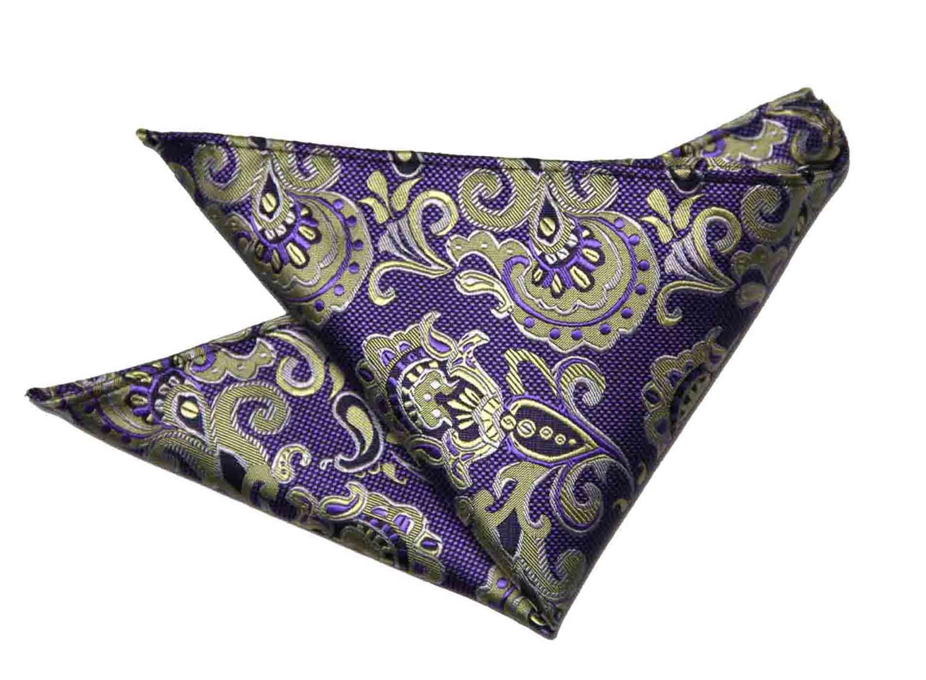 Gascoigne Pocket Square Purple Yellow Black Elements of Paisley Men's