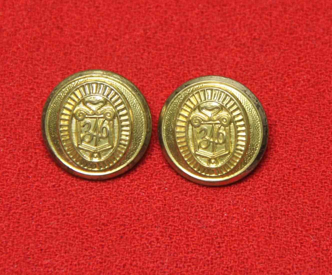 Two Vintage Brooks Brothers 346 by Waterbury Blazer Buttons Brass Gold Shank Men's