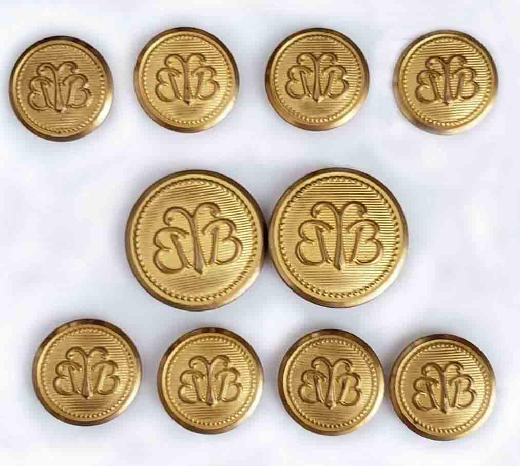 Vintage Brooks Brothers by Waterbury Blazer Buttons Set Gold Brass BB Monogram Men's