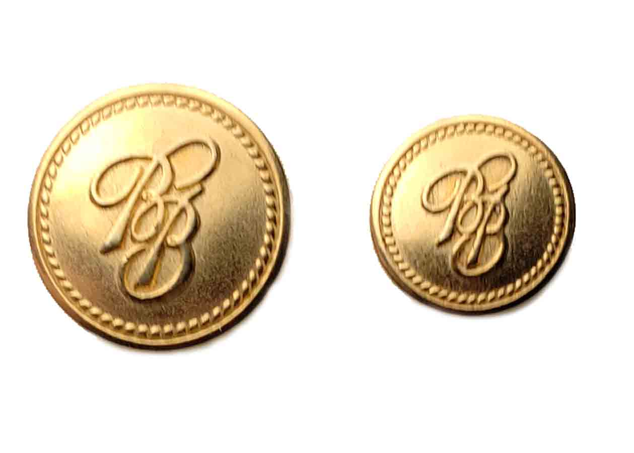 Two New Brooks Brothers Replacement Blazer Buttons BB Monogram Brass Shank Men's
